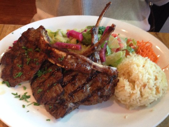 San Mateo, CA: Lamb chop dinner with salad and rice