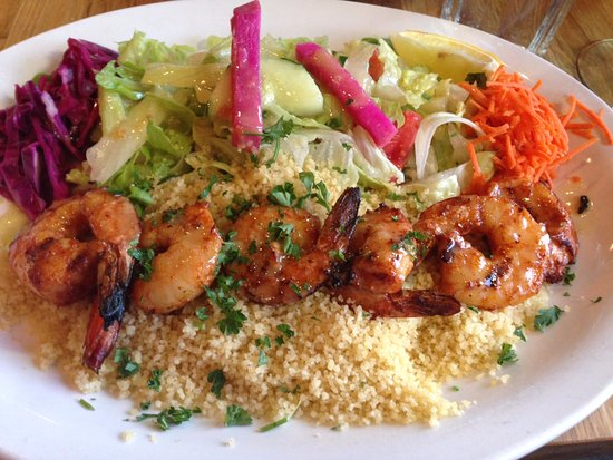 San Mateo, CA: Grilled spicy prawns at Hummus
