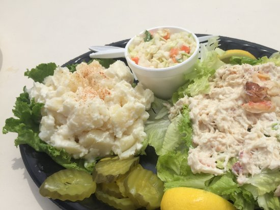Belfast, ME: Crab salad with potato salad and coleslaw