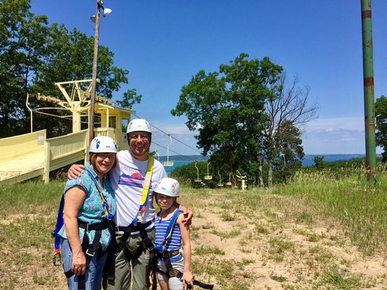 Mt. Holiday Ski Resort: Traverse Bay in the background