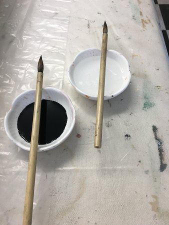 Williamsburg, MA: Tools for Suminagashi fabric marbling