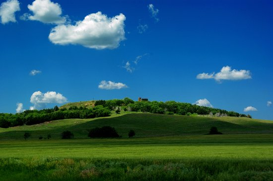 Lindsborg, Kansas: A view of Coronado Heights from the east.