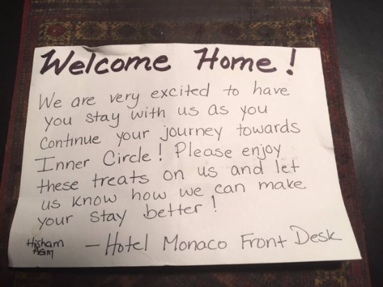 a lovely handwritten welcome note in my room on arrival
