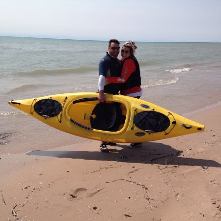 Two Rivers, WI: Family getting ready to kyak on Lake Michigan