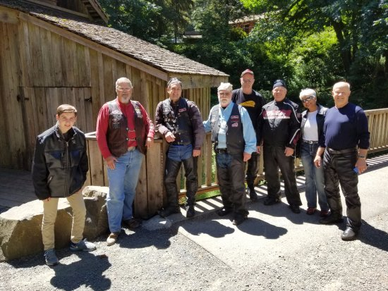 Woodland, WA: Members of the Indian Motorcycle Riders Group at the Grist Mill