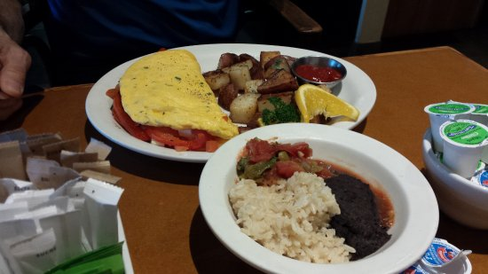 Stella's on Grant: Mediterranean Omelette with side of beans, rice, salsa as GF option to replace bread