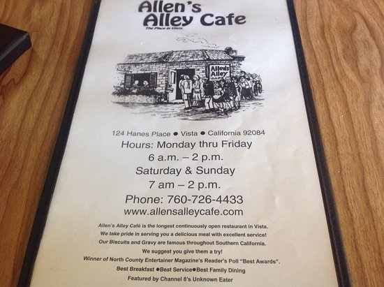 Allen's Alley: Menu cover with info.