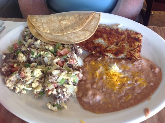Allen's Alley: Machaca with 2 eggs, beans, potatoes and tortillas.