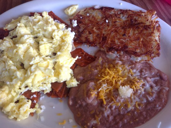 Allen's Alley: Chiliquiles with eggs, onions, cheese, beans and hash browns.