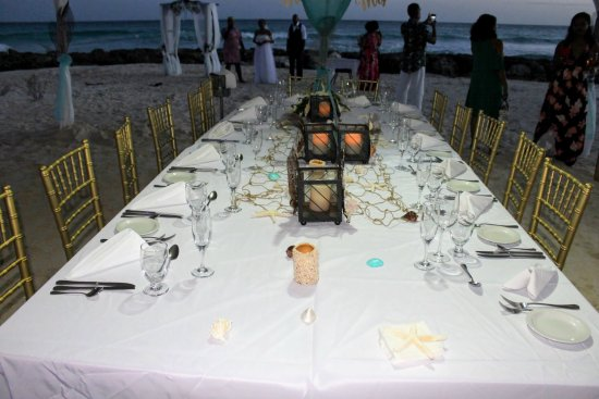 wedding dinner set up on the beach - picture of ocean two resort