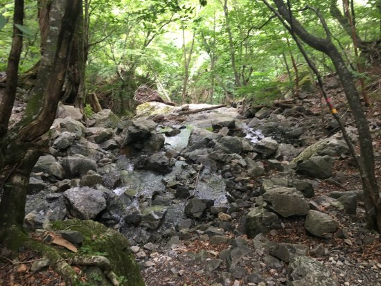 Ominesanji Temple: レンゲ坂のほぼ中間辺り このあとザレた高巻きのトラバースが続きます。
