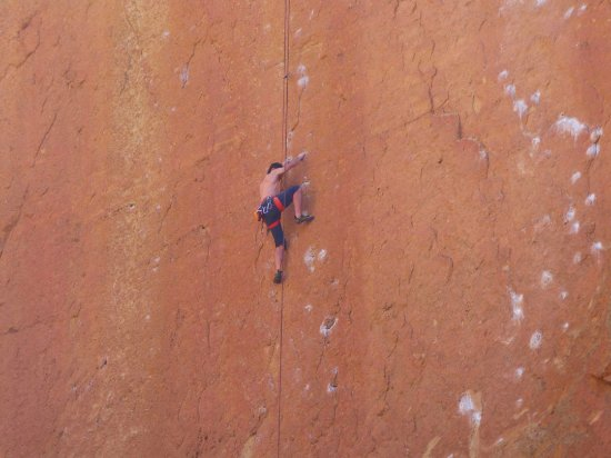 Smith Rock State Park: Climber on a sheer face, yikes