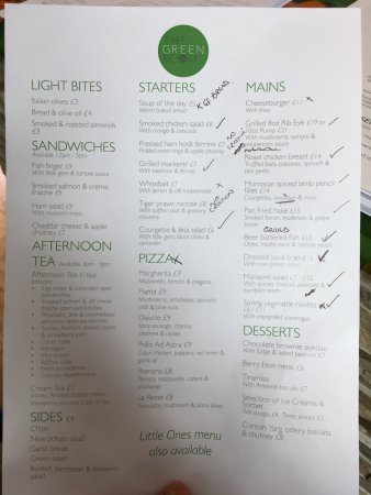 The Green Room Restaurant: Gluten Free options marked on menu