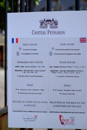 Saint-Sauveur, Francia: Chateâu Peyrabon is open five days a week