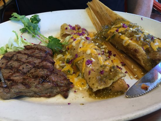 Miguel's Cocina: Carne asada with tamales and enchilada