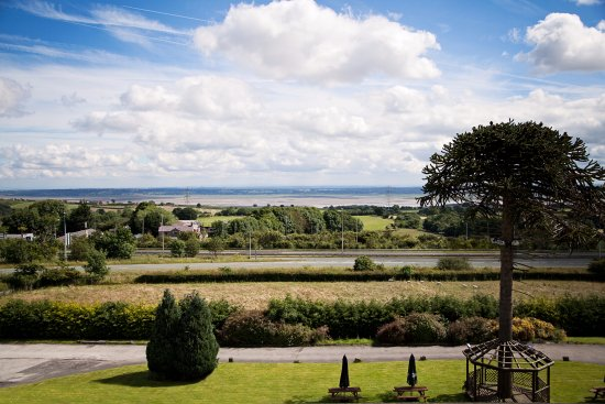 Pentre Halkyn, UK: View over the Wirral and River Dee Estuary