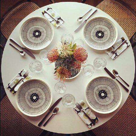 Gualala, CA: Marimekko from Finland and Alessi from Italy set a welcoming table.