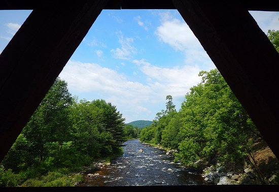 Littleton, NH: View of the Ammonoosuc River from the covered bridge