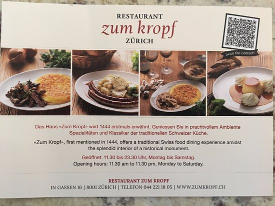 Photo of Swiss Restaurant Restaurant zum Kropf at In Gassen 16, Zurich 8001, Switzerland