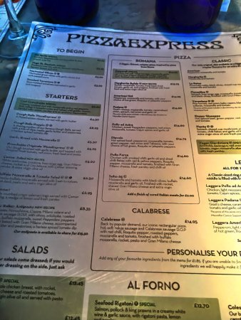 Menu Picture Of Pizza Express Liverpool Street London