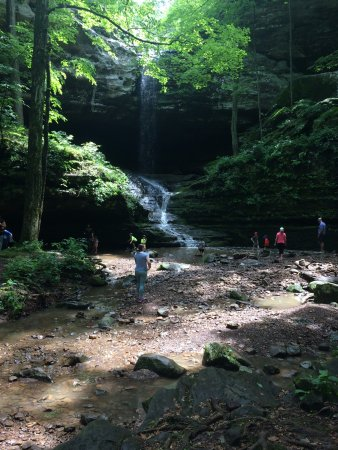 Goreville, IL: The main waterfall and pool at the end of the easy hike.