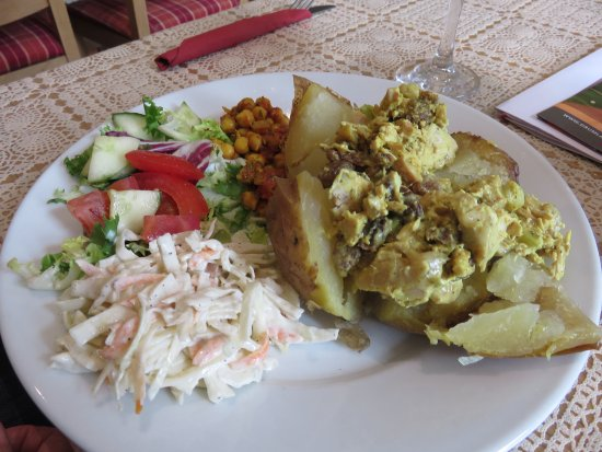Moniaive, UK: Coronation chicken Baked Potato at Glenwhisk Cafe