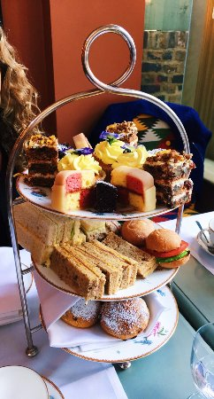 Number Sixteen: Afternoon tea: sandwich selection, Battenberg, carrot cake, brownie, lemon cupcake, scones