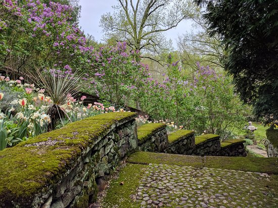 Short Hills, نيو جيرسي: Moss covered steps in the garden with beautiful blooms