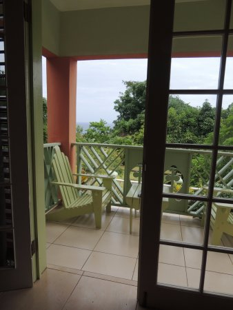 Pimento Lodge Resort: View from our Porch of ocean in background