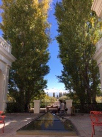 Cavas Wine Lodge: vista desde la mesa central del comedor (al exterior)