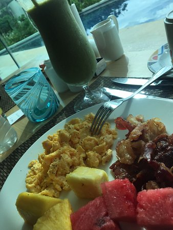 Part of my breakfast with a green smoothie