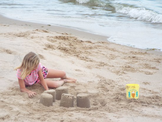 Baileys Harbor, WI: Build a sandcastle on our private sand beach.