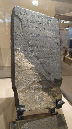 Kensington Runestone on display at Runestone Museum, Alexandria MN