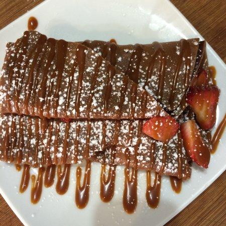 Kingston, NY: Chocolate Crepe, homeamade caramel and fresh fruit.