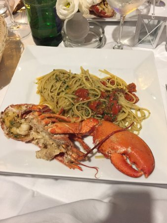 Fish soup for 2 and lobster with linguini fabulous 😊😊