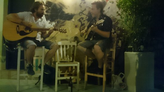 """Ano Kato: Blue Orchids acoustic duo on an """"unplugged"""" evening, going down a storm. The boys played for 5 h"""