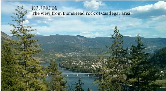 The view of Castlegar, Columbia River and beyond. From Lionshead Rock, a local attraction.