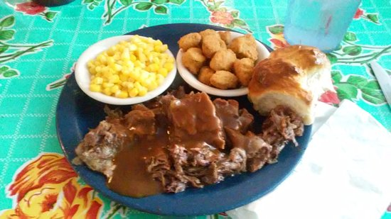 Hutto, TX: This is the roast beef blue plate special with corn and fried okra
