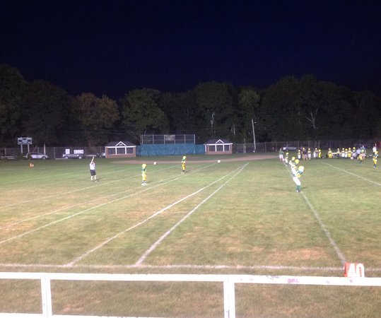 Clinton, MA: Football under the lights.