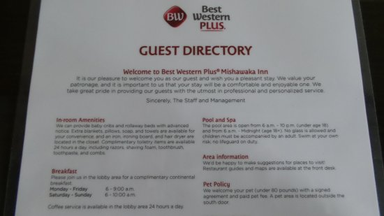 Best Western Plus Mishawaka Inn: Info for guests