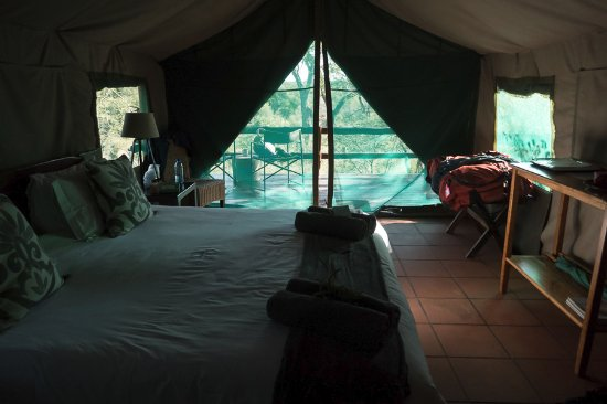 Sausage Tree Safari Camp: Tent is under a thatched roof with full bathroom and shower. Heating and cooling