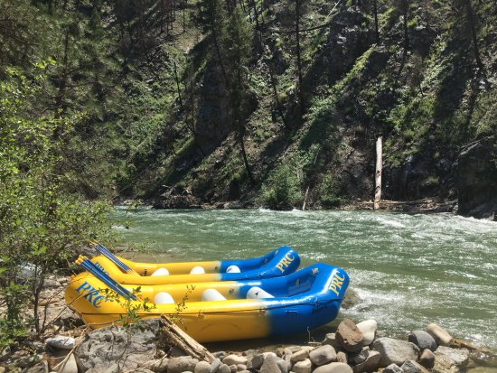 Lowman, ID: Rafts docked at the campsite
