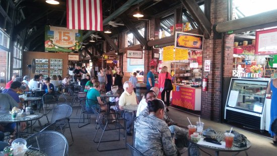 2nd Street Market: Lots of eateries and tables around to eat at, though only at the far end is it air conditioned.