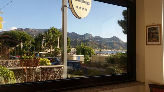 Hotel Sabbie d'Oro: View from the Dining Room of Taormina town.
