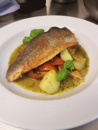 Ilminster, UK: Pan fried Sea Bream in a vegetable broth from our evening menu