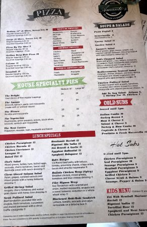 Amante Italian Cuisine: pizza menu for Amange's