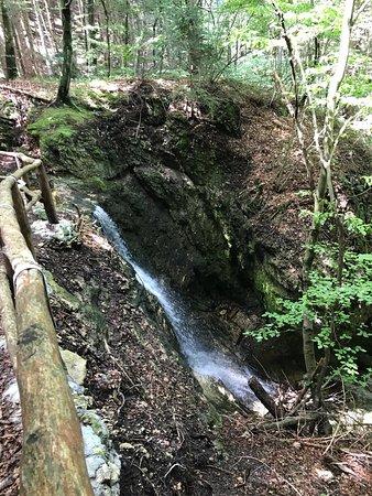 piccola ma meravigliosa cascatella che si incontra nel percorso Acqua e Faggi a Fai della Pagane