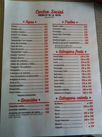 Fornells de la Selva, Spain: carta