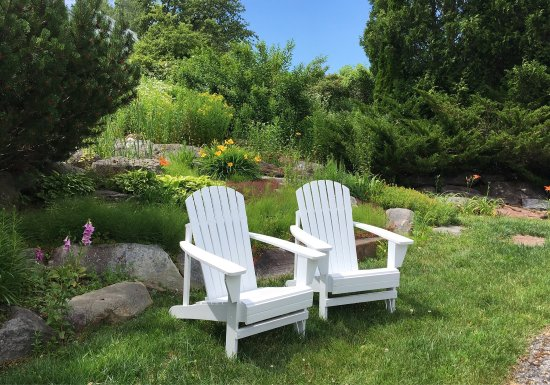 Lincolnville, ME: These chairs are reserved for YOU,after time at the beach,visiting the nearby vineyard,or just t