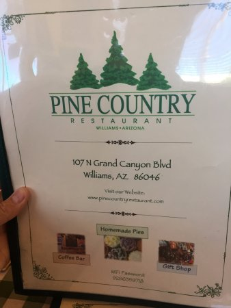 Pine Country Restaurant : Menu